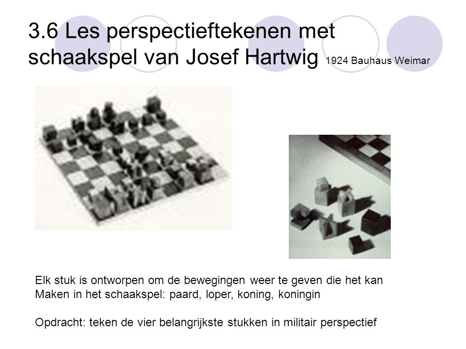 3.6 Les perspectieftekenen met schaakspel van Josef Hartwig 1924 Bauhaus Weimar