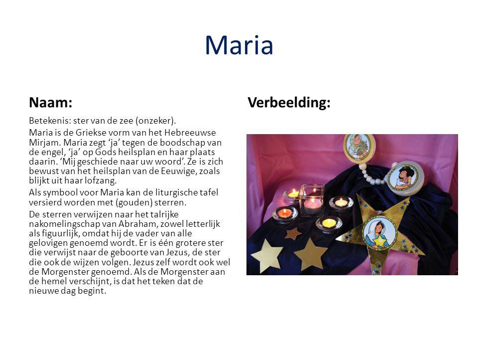 Maria Naam: Verbeelding: Betekenis: ster van de zee (onzeker).