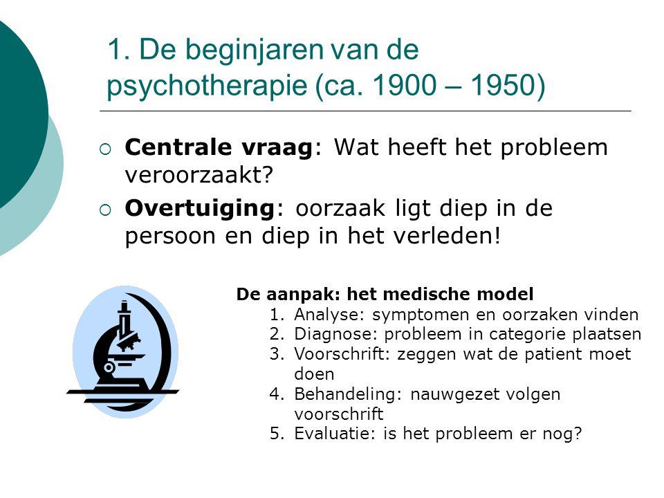1. De beginjaren van de psychotherapie (ca. 1900 – 1950)