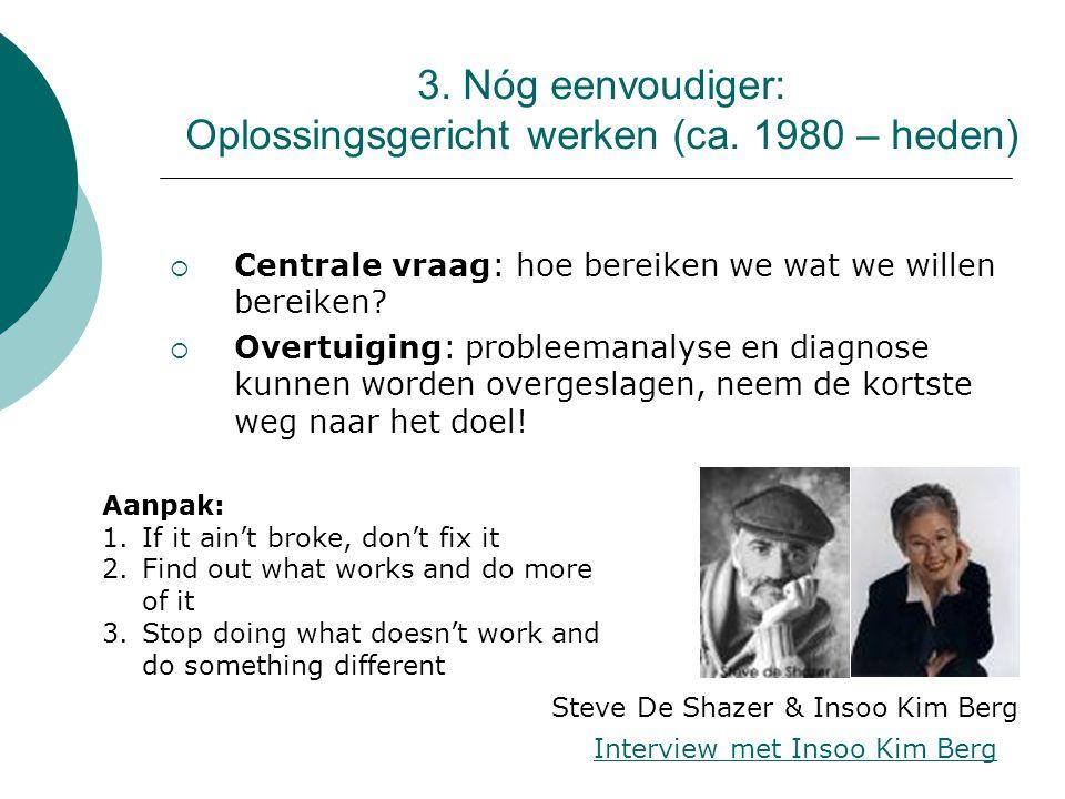3. Nóg eenvoudiger: Oplossingsgericht werken (ca. 1980 – heden)