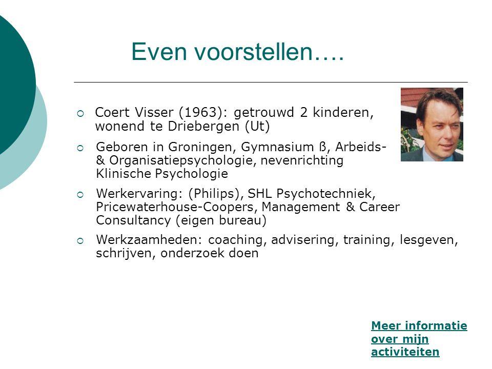 Even voorstellen…. Coert Visser (1963): getrouwd 2 kinderen, wonend te Driebergen (Ut)