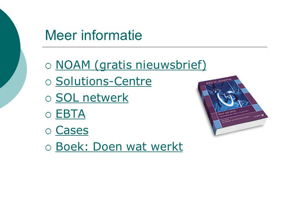 Meer informatie NOAM (gratis nieuwsbrief) Solutions-Centre SOL netwerk