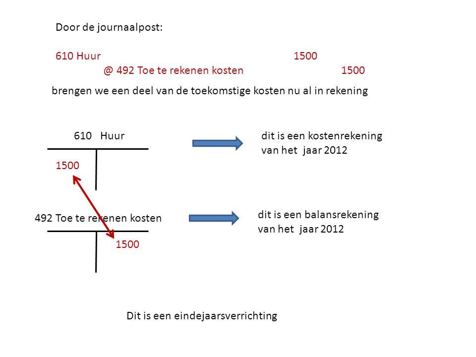 Door de journaalpost: 610 Huur 1500. @ 492 Toe te rekenen kosten 1500. brengen we een deel van de toekomstige kosten nu al in rekening.