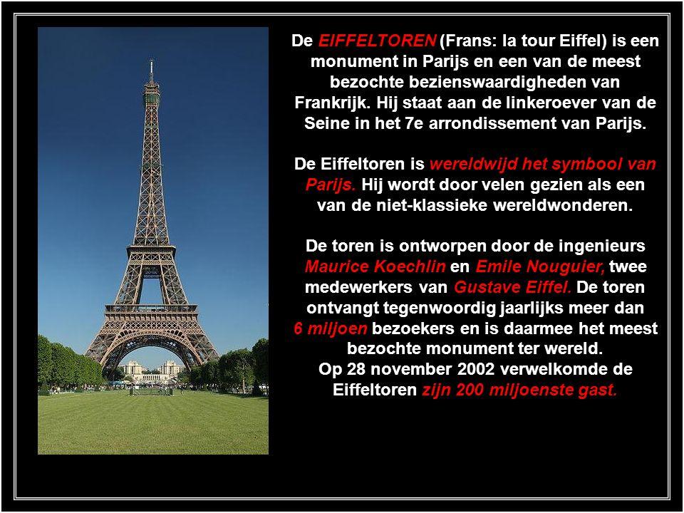 De EIFFELTOREN (Frans: la tour Eiffel) is een monument in Parijs en een van de meest bezochte bezienswaardigheden van Frankrijk. Hij staat aan de linkeroever van de Seine in het 7e arrondissement van Parijs.