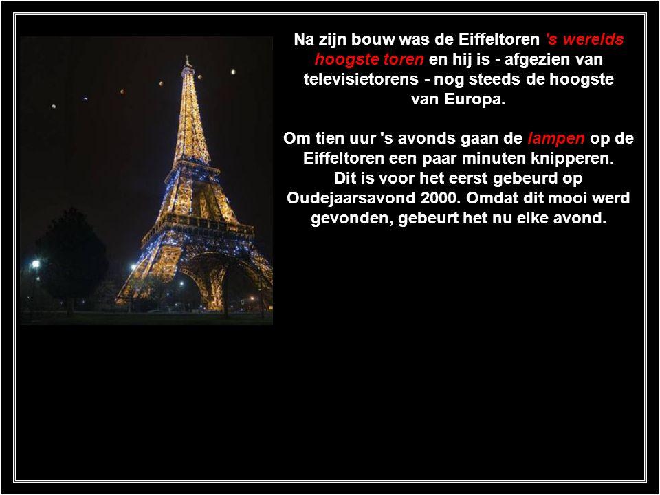 Na zijn bouw was de Eiffeltoren s werelds hoogste toren en hij is - afgezien van televisietorens - nog steeds de hoogste van Europa.