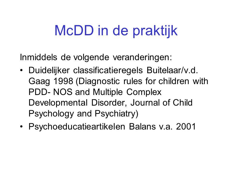 McDD in de praktijk Inmiddels de volgende veranderingen: