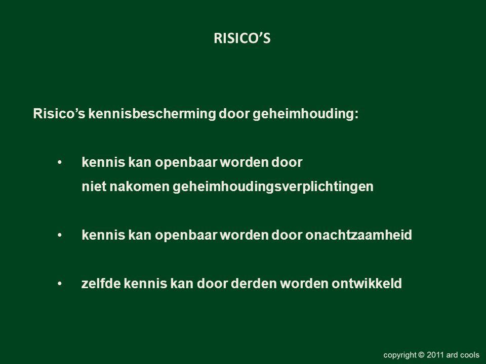 RISICO'S Risico's kennisbescherming door geheimhouding: