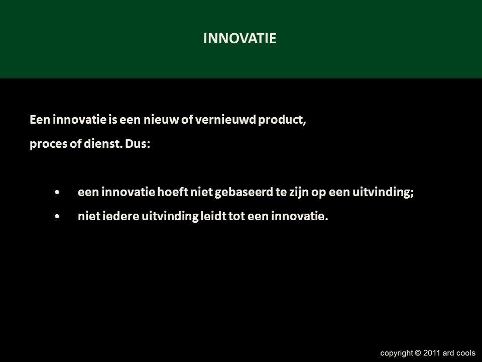 INNOVATIE Een innovatie is een nieuw of vernieuwd product,