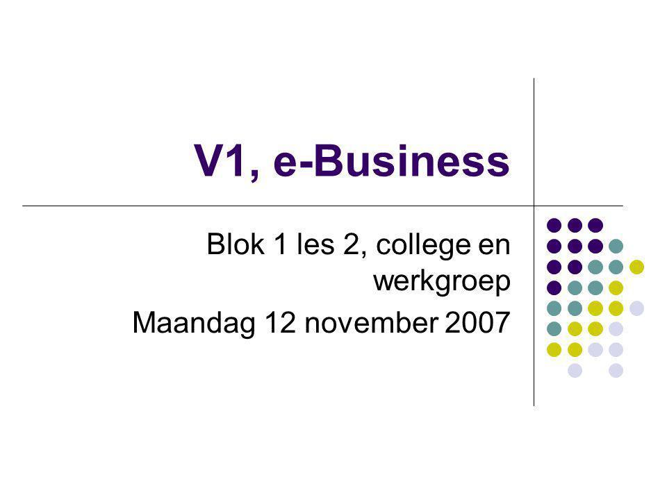 Blok 1 les 2, college en werkgroep Maandag 12 november 2007