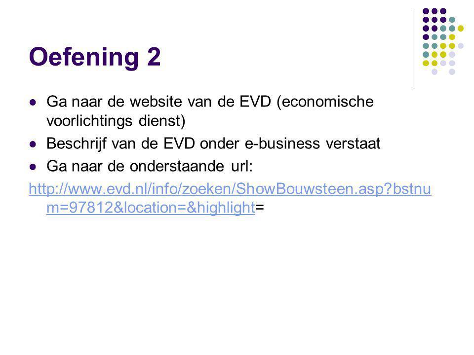 Oefening 2 Ga naar de website van de EVD (economische voorlichtings dienst) Beschrijf van de EVD onder e-business verstaat.