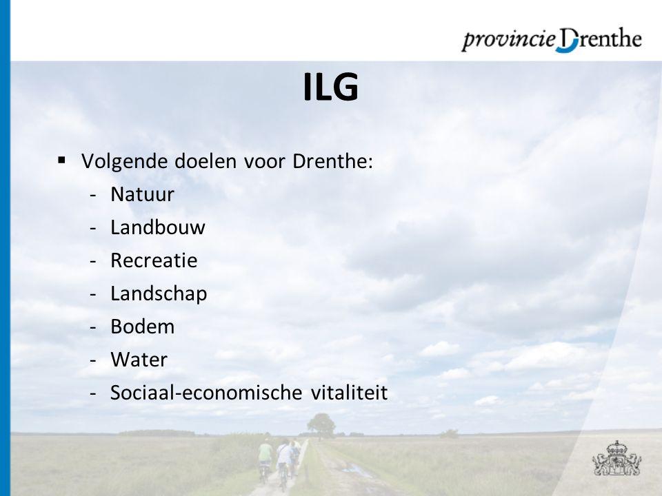 ILG Volgende doelen voor Drenthe: Natuur Landbouw Recreatie Landschap