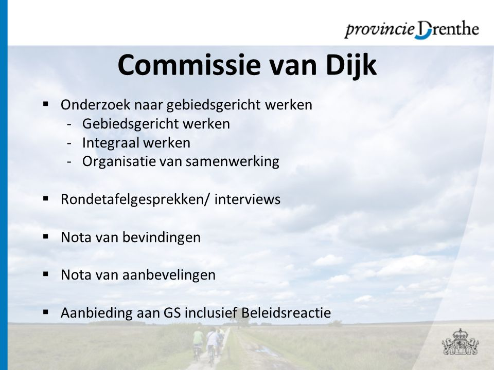 Commissie van Dijk Onderzoek naar gebiedsgericht werken
