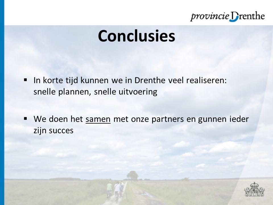 Conclusies In korte tijd kunnen we in Drenthe veel realiseren: snelle plannen, snelle uitvoering.