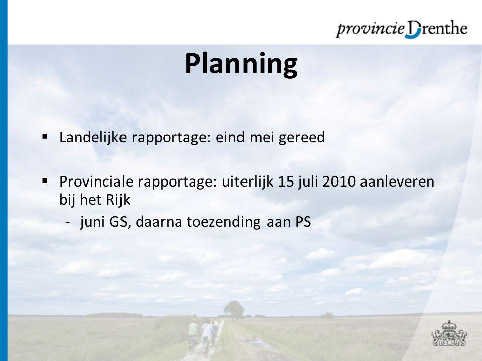 Planning Landelijke rapportage: eind mei gereed