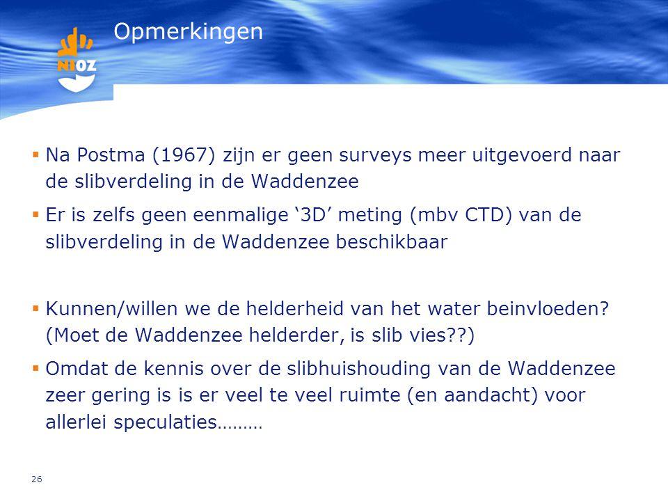 Opmerkingen Na Postma (1967) zijn er geen surveys meer uitgevoerd naar de slibverdeling in de Waddenzee.