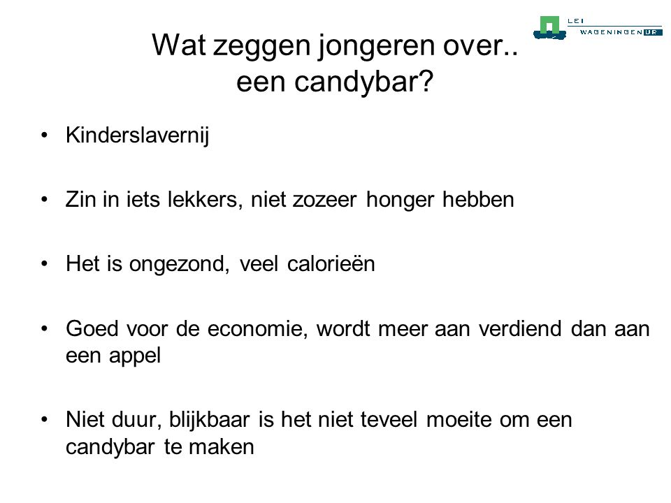 Wat zeggen jongeren over.. een candybar