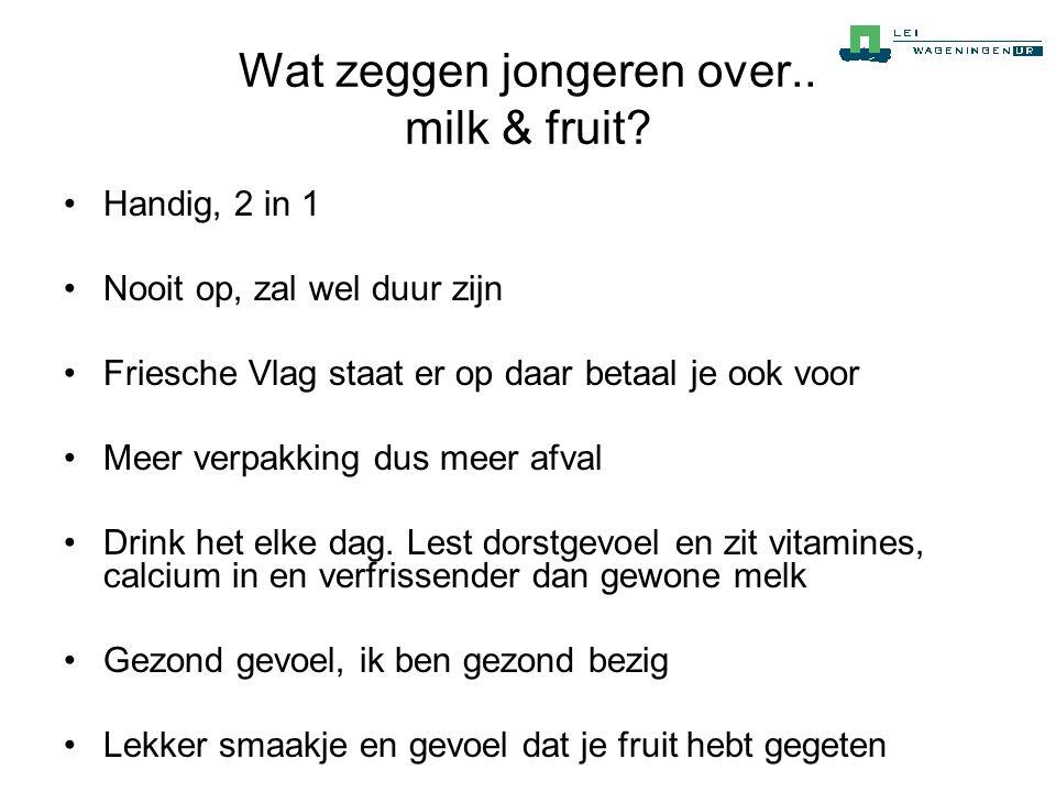 Wat zeggen jongeren over.. milk & fruit