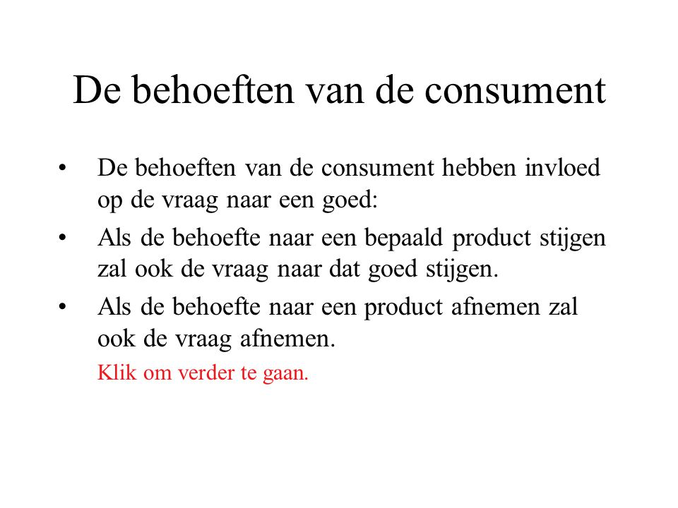 De behoeften van de consument