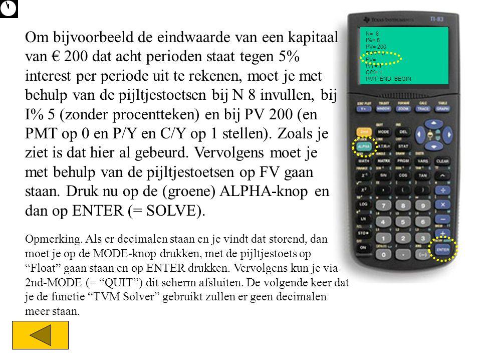 Om bijvoorbeeld de eindwaarde van een kapitaal van € 200 dat acht perioden staat tegen 5% interest per periode uit te rekenen, moet je met behulp van de pijltjestoetsen bij N 8 invullen, bij I% 5 (zonder procentteken) en bij PV 200 (en PMT op 0 en P/Y en C/Y op 1 stellen). Zoals je ziet is dat hier al gebeurd. Vervolgens moet je met behulp van de pijltjestoetsen op FV gaan staan. Druk nu op de (groene) ALPHA-knop en dan op ENTER (= SOLVE).