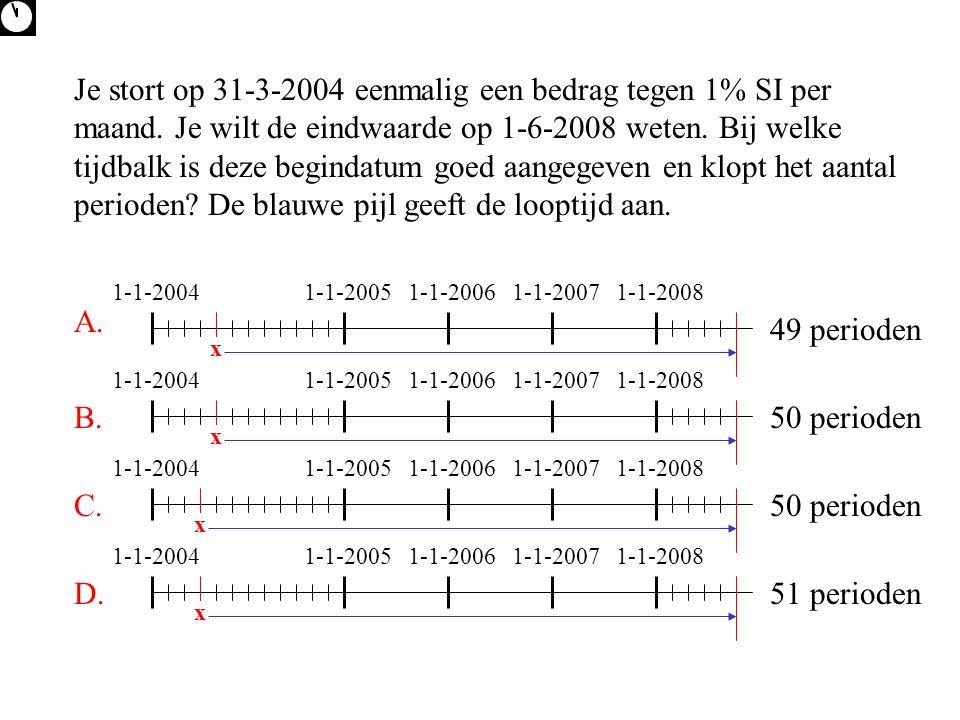 Je stort op 31-3-2004 eenmalig een bedrag tegen 1% SI per maand