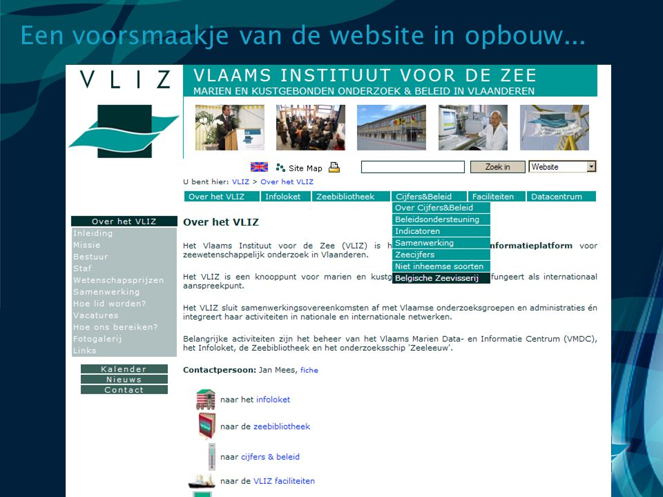 Een voorsmaakje van de website in opbouw...