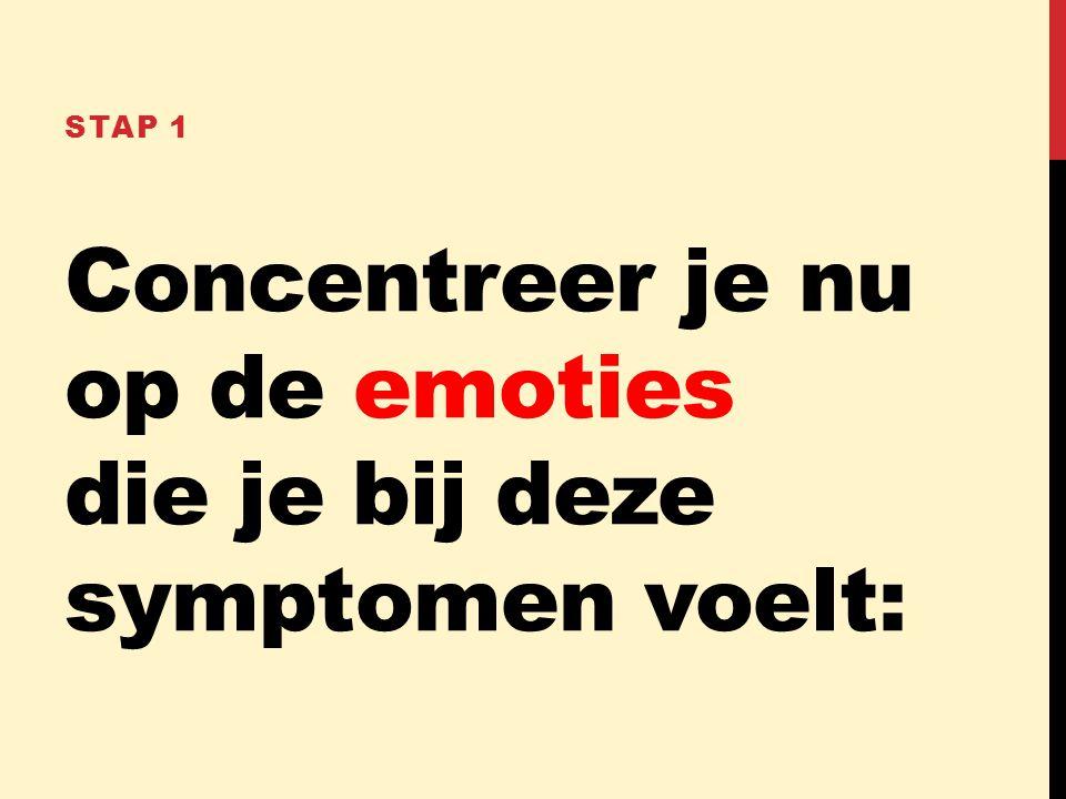 Concentreer je nu op de emoties die je bij deze symptomen voelt: