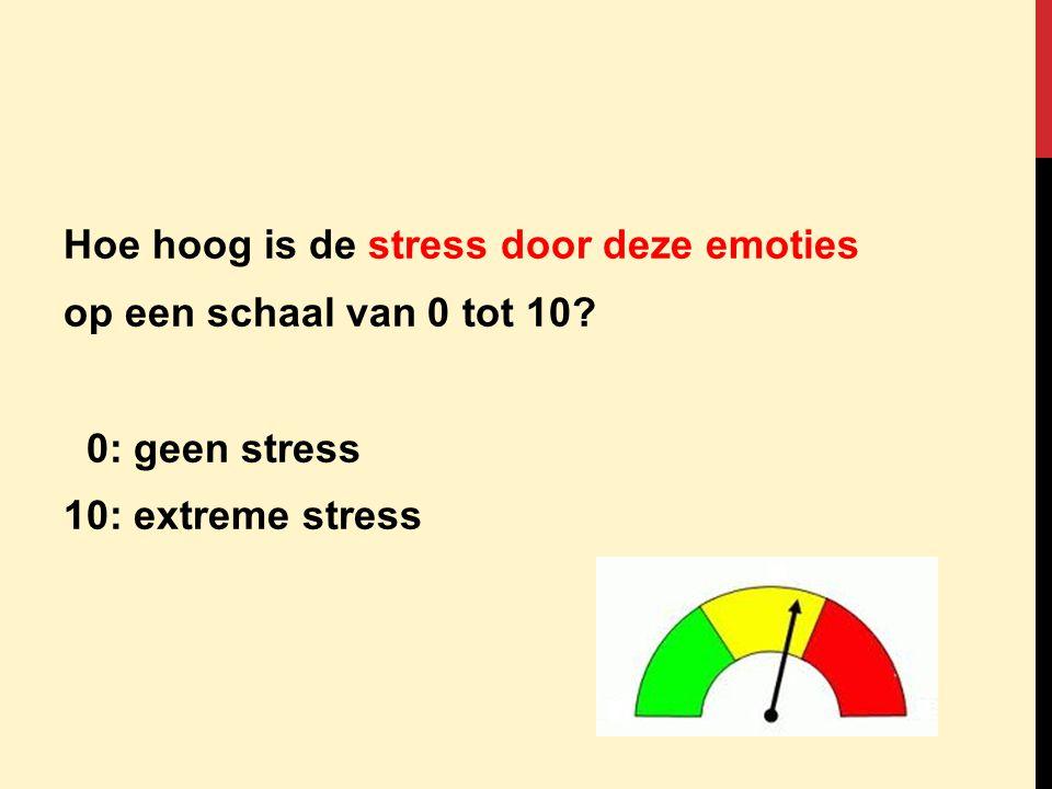Hoe hoog is de stress door deze emoties op een schaal van 0 tot 10