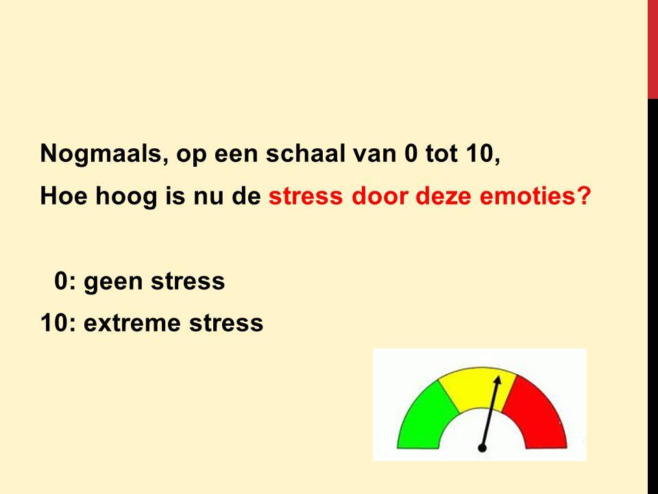Nogmaals, op een schaal van 0 tot 10, Hoe hoog is nu de stress door deze emoties.