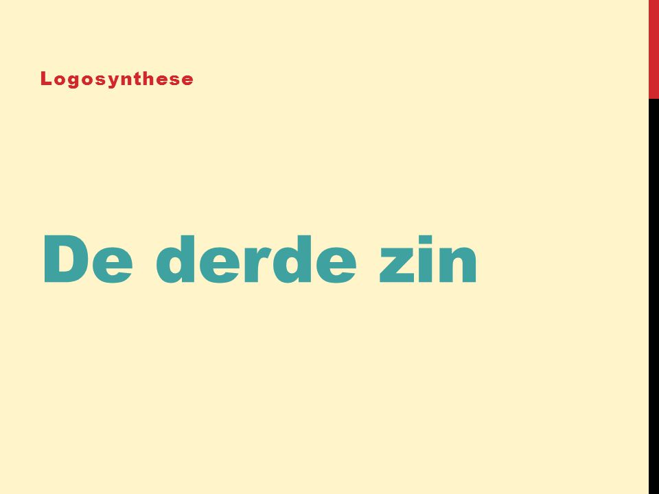 Logosynthese De derde zin