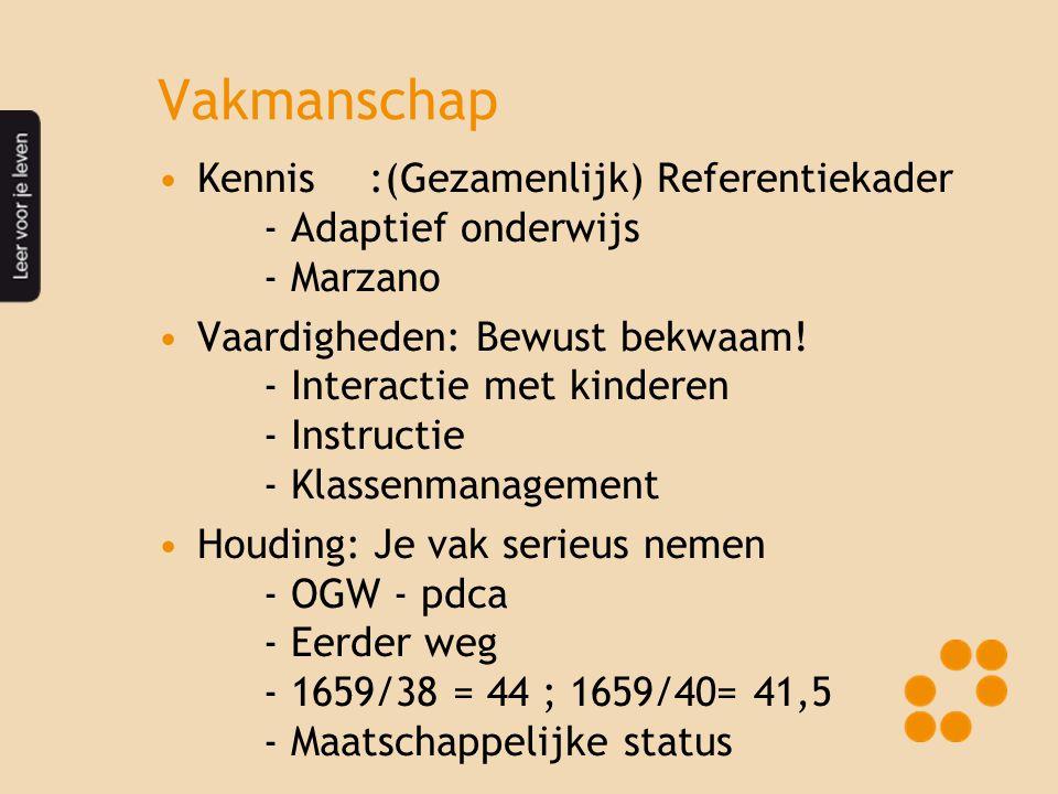 Vakmanschap Kennis :(Gezamenlijk) Referentiekader - Adaptief onderwijs - Marzano.