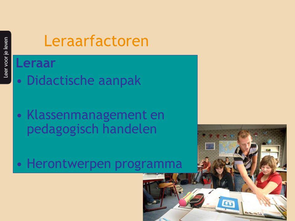 Leraarfactoren Leraar Didactische aanpak