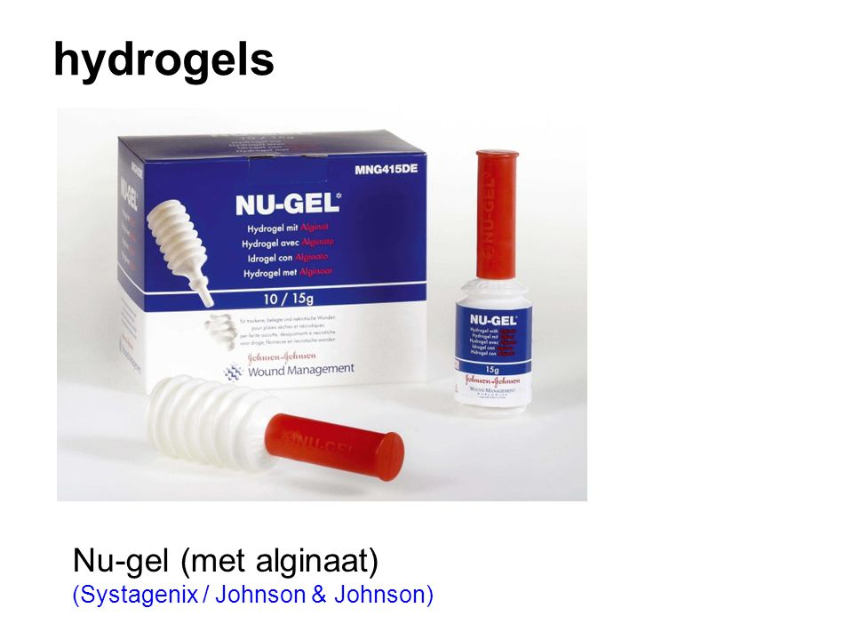 hydrogels Nu-gel (met alginaat) (Systagenix / Johnson & Johnson)