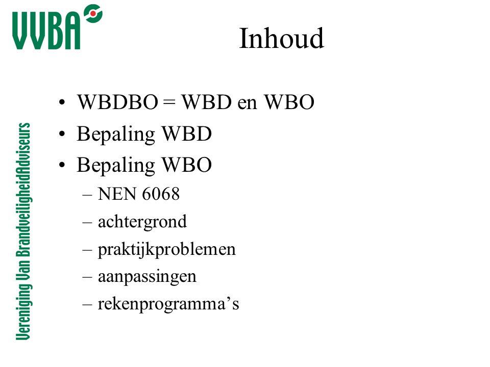Inhoud WBDBO = WBD en WBO Bepaling WBD Bepaling WBO NEN 6068