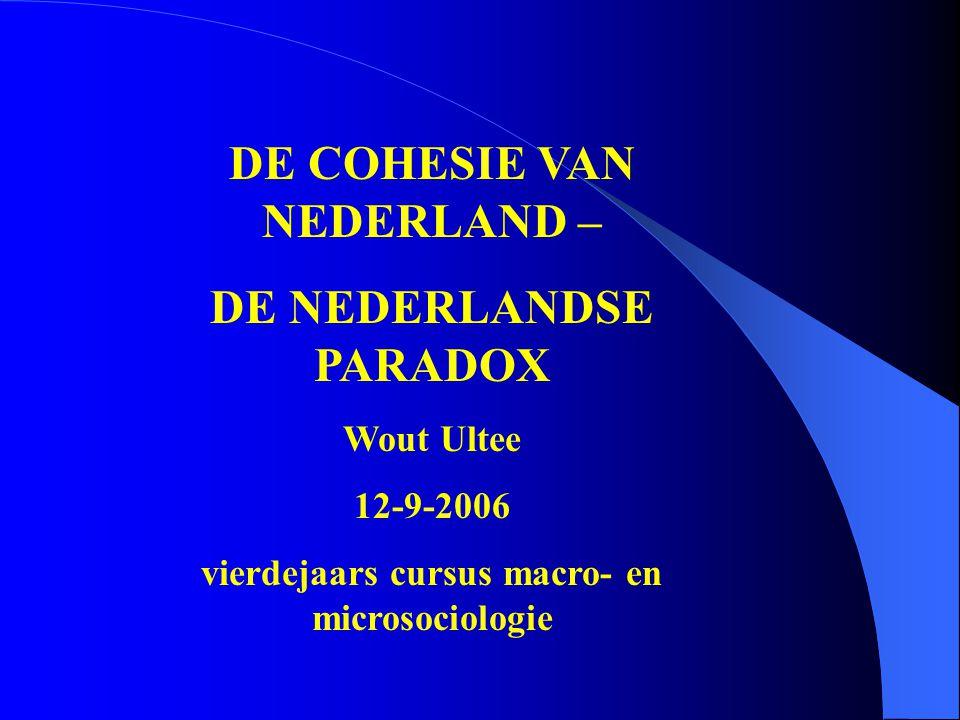 DE COHESIE VAN NEDERLAND – DE NEDERLANDSE PARADOX