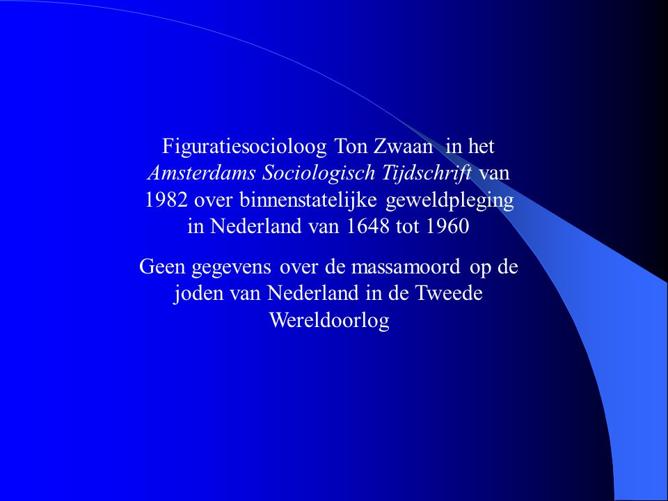 Figuratiesocioloog Ton Zwaan in het Amsterdams Sociologisch Tijdschrift van 1982 over binnenstatelijke geweldpleging in Nederland van 1648 tot 1960