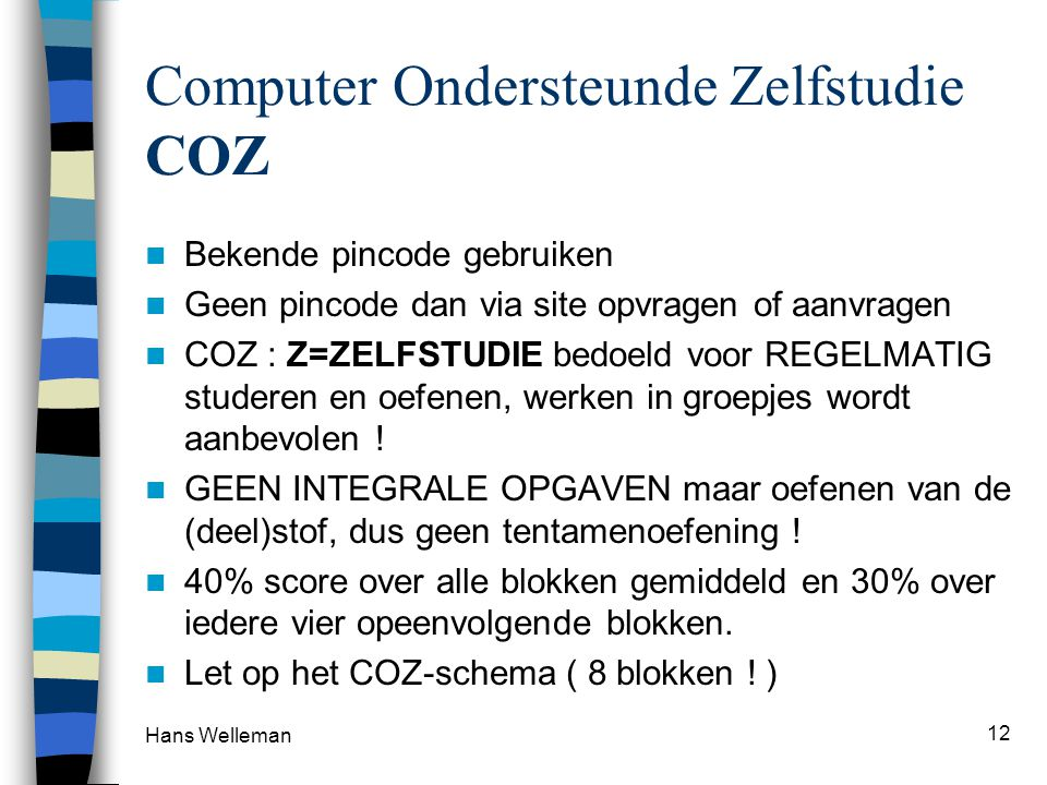 Computer Ondersteunde Zelfstudie COZ
