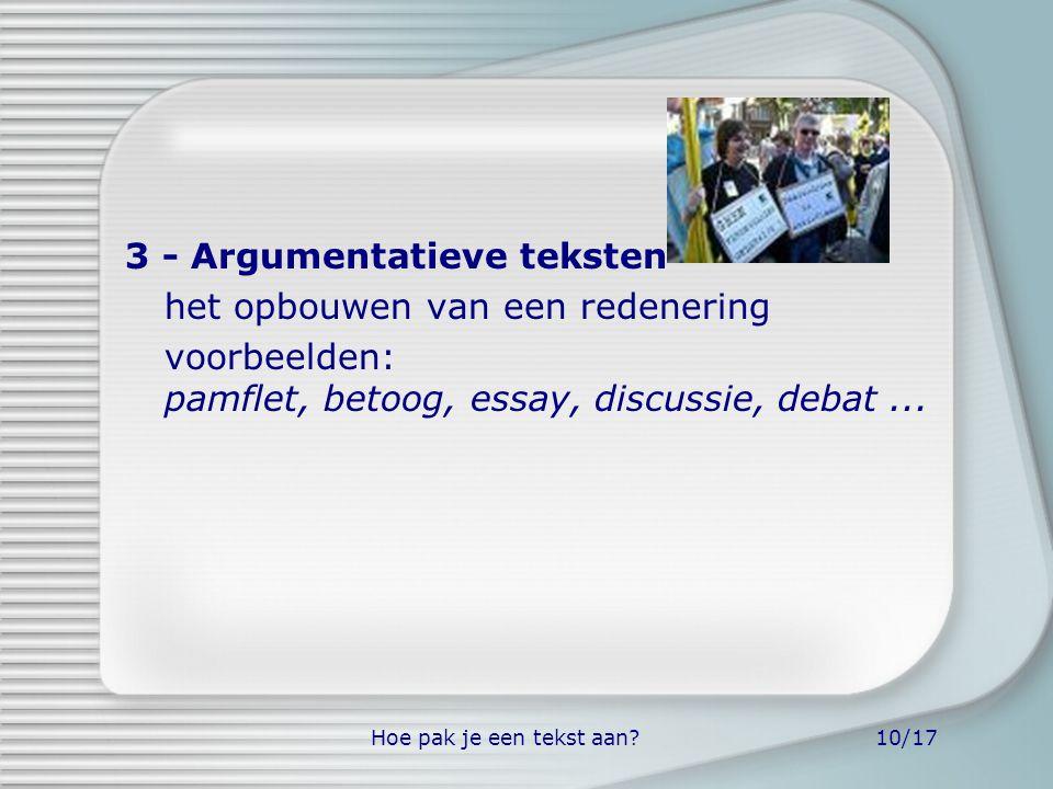 3 - Argumentatieve teksten het opbouwen van een redenering