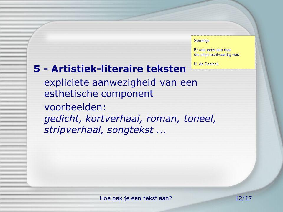 5 - Artistiek-literaire teksten
