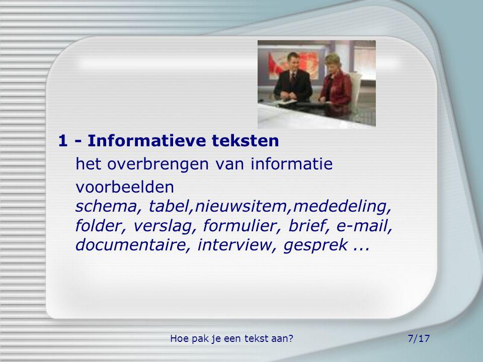 1 - Informatieve teksten het overbrengen van informatie
