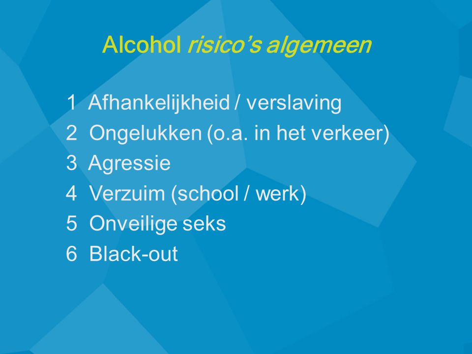 Alcohol risico's algemeen
