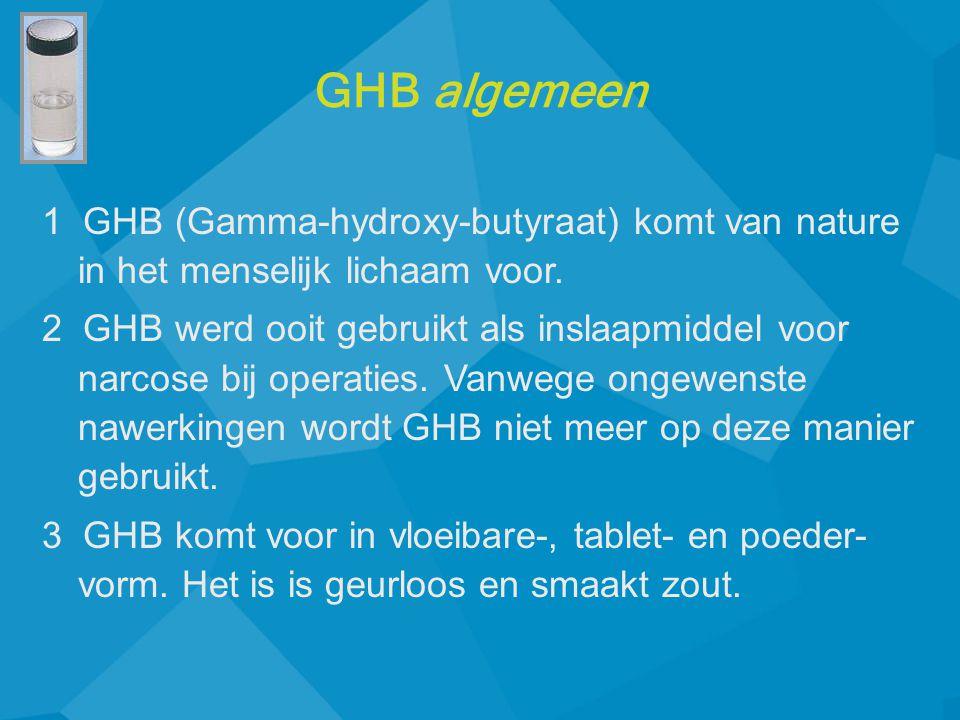 GHB algemeen 1 GHB (Gamma-hydroxy-butyraat) komt van nature in het menselijk lichaam voor.