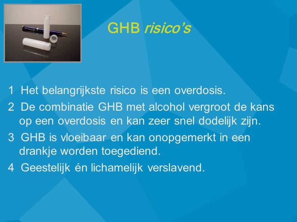 GHB risico's 1 Het belangrijkste risico is een overdosis.