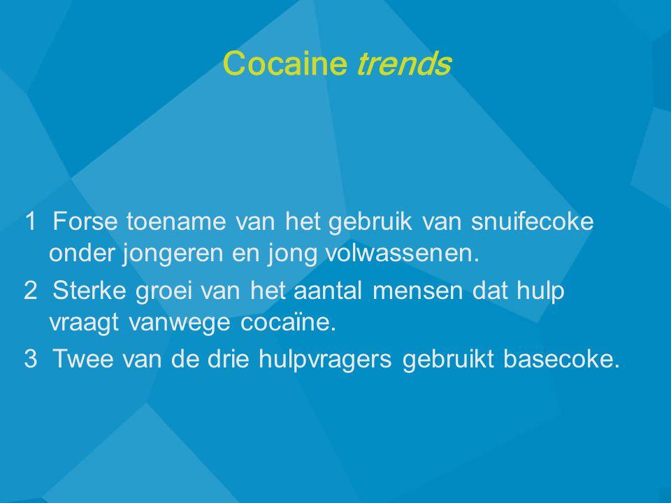 Cocaine trends 1 Forse toename van het gebruik van snuifecoke onder jongeren en jong volwassenen.