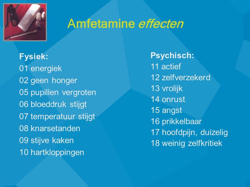 Amfetamine effecten Fysiek: 01 energiek 02 geen honger