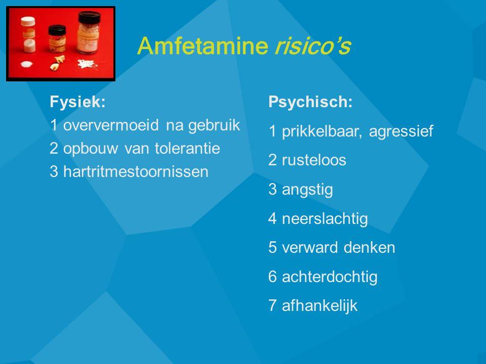 Amfetamine risico's Fysiek: 1 oververmoeid na gebruik