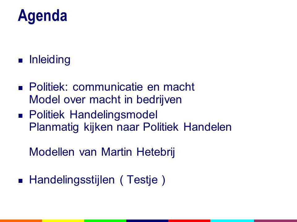 Agenda Inleiding. Politiek: communicatie en macht Model over macht in bedrijven.