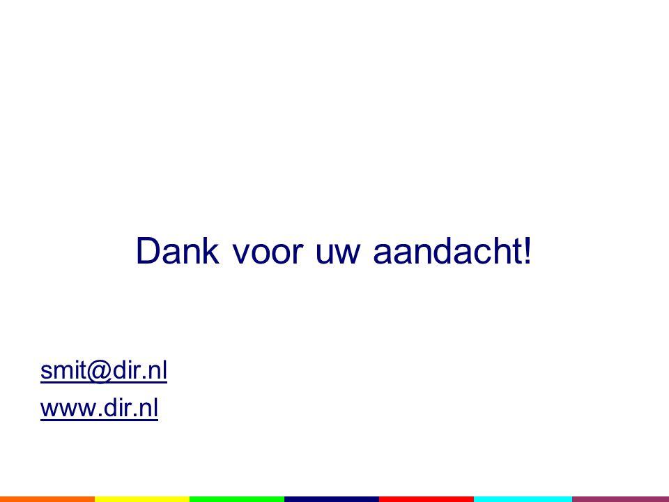 Dank voor uw aandacht! smit@dir.nl www.dir.nl
