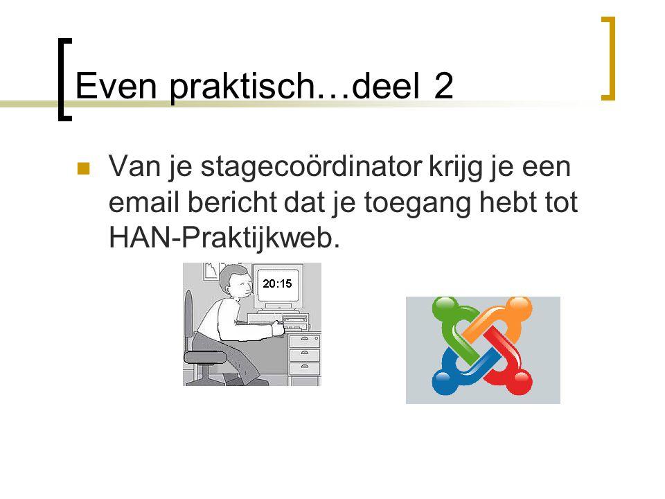 Even praktisch…deel 2 Van je stagecoördinator krijg je een email bericht dat je toegang hebt tot HAN-Praktijkweb.