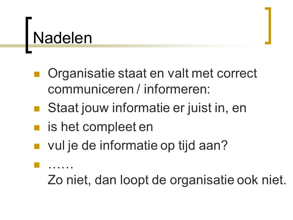 Nadelen Organisatie staat en valt met correct communiceren / informeren: Staat jouw informatie er juist in, en.