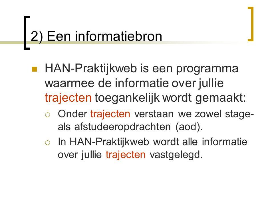 2) Een informatiebron HAN-Praktijkweb is een programma waarmee de informatie over jullie trajecten toegankelijk wordt gemaakt: